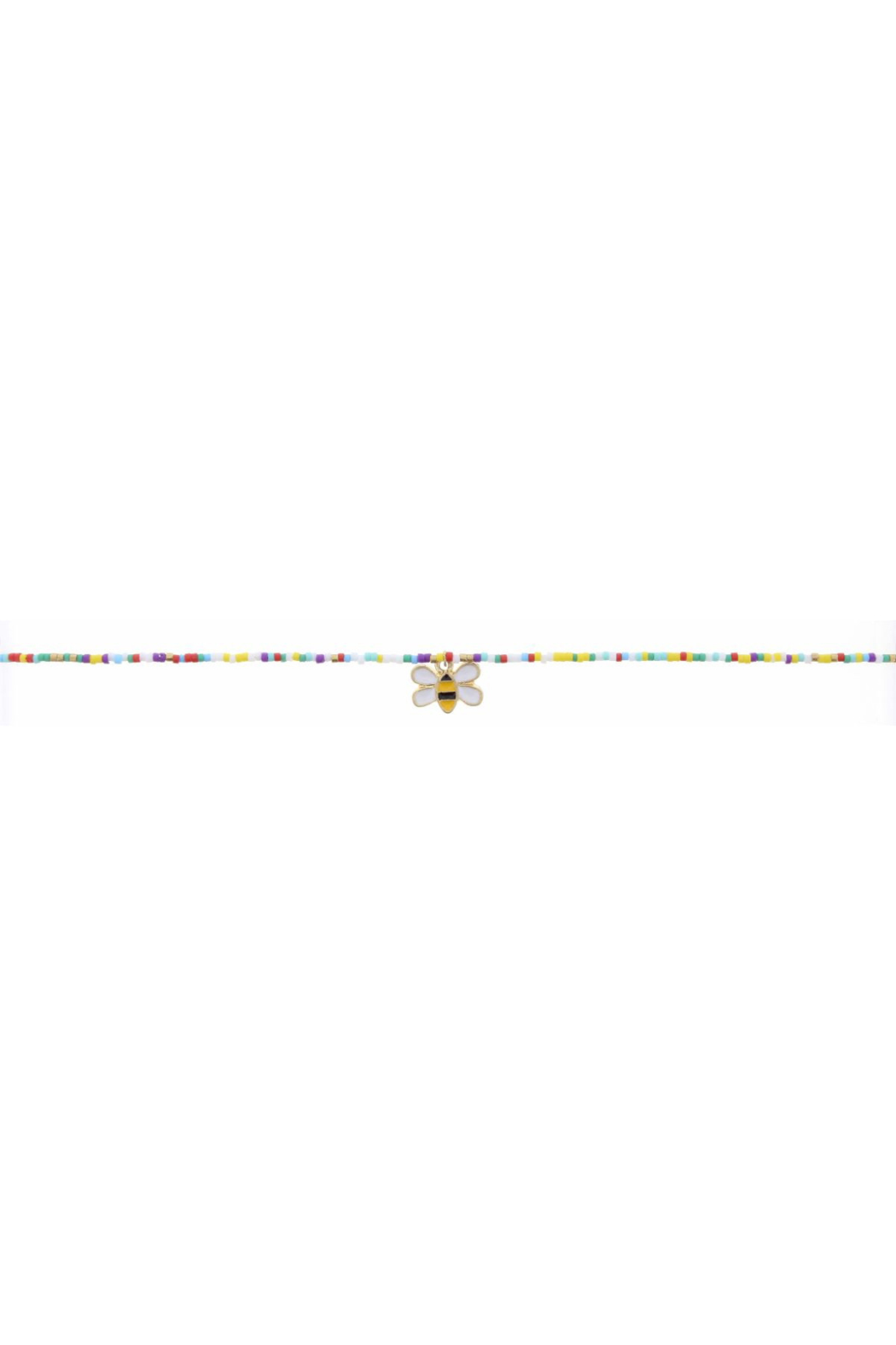 Jane Marie Seed Bead Necklace - Multi Color With Bee Charm - Main Image