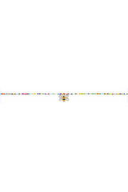 Jane Marie Seed Bead Necklace - Multi Color With Bee Charm - Front cropped
