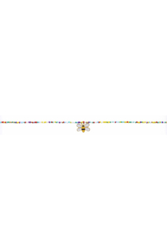 Jane Marie Seed Bead Necklace - Multi Color With Bee Charm - Alternate List Image