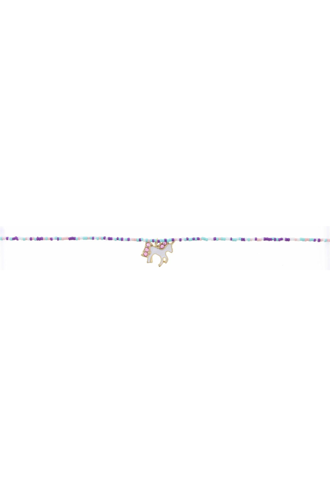 Jane Marie Seed Bead Necklace - Pink/Whit/Mint With Unicorn Charm - Main Image