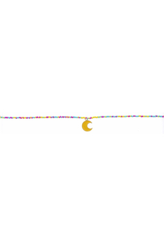 Jane Marie Seed Bead Necklace - Pink/Yellow/Turquoise With Moon Charm - Alternate List Image