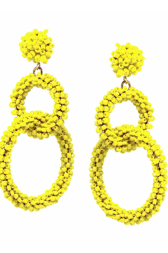 US Jewelry House Seed Bead Wrapped Double Hoop Linked Drop Earrings - Alternate List Image