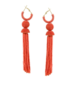 US Jewelry House Seed Bead Wrapped Hoop With Tassel Drop Earrings - Alternate List Image