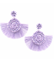 US Jewelry House Seed Beaded Disc With Fan Shape Tassel Fringe Drop Earrings - Product Mini Image