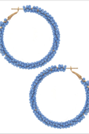Bluebell Seed Beaded Hoops - Front cropped