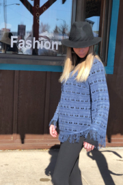 PBJ Blues Seed Stich Pull over - Front full body