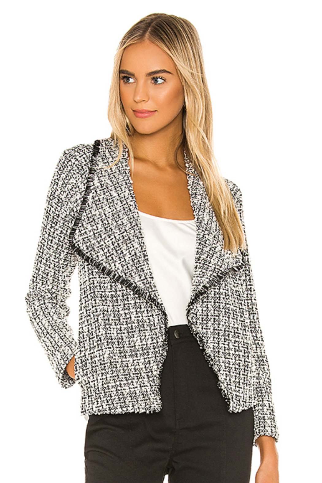BB Dakota Seeing Things Tweed Jacket In Black - Main Image