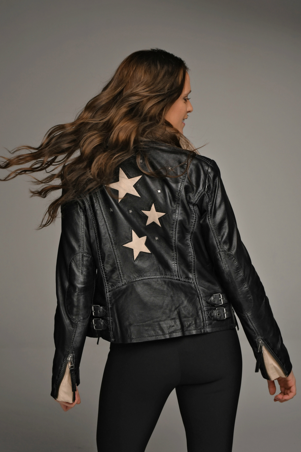 Mauritius Seera Star & Studded Leather Jacket - Front Cropped Image