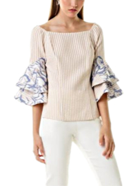 Alberto Makali Seersucker Off The Shoulder Blouse - Product Mini Image