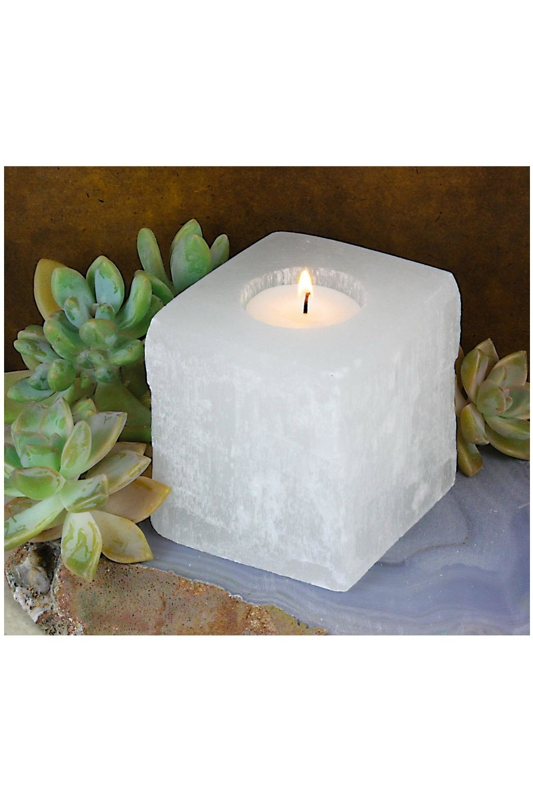Rock Paradise Selenite Candle-Holder/planter - Front Full Image