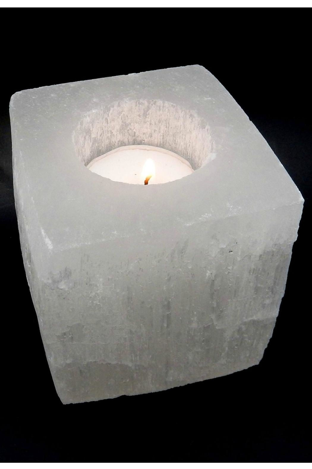 Rock Paradise Selenite Candle-Holder/planter - Front Cropped Image