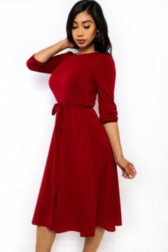 H&H Fashion Self Tie Midi Dress - Alternate List Image