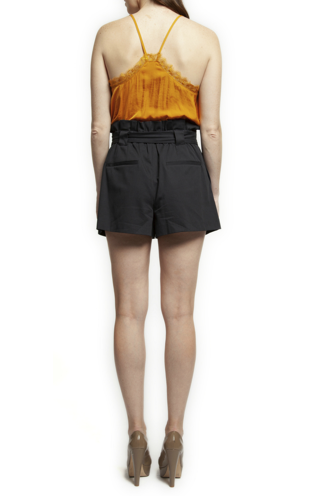 Black Tape/Dex Self Tie Ruffle Waist Shorts - Front Full Image