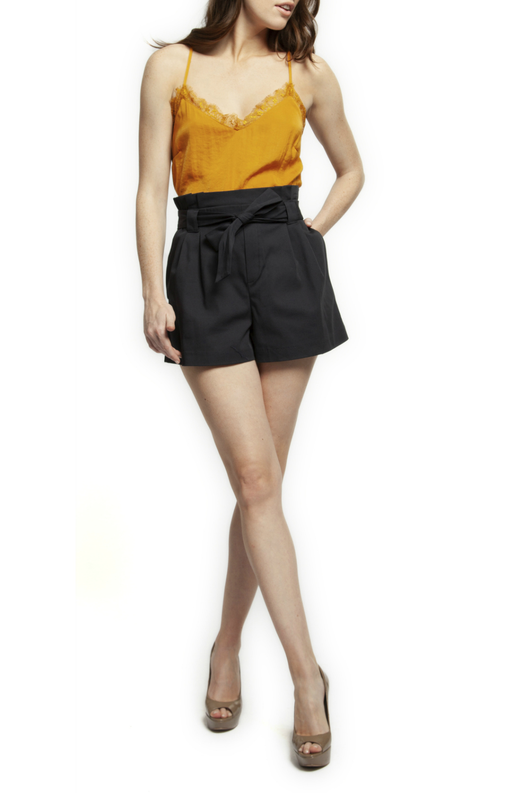 Black Tape/Dex Self Tie Ruffle Waist Shorts - Front Cropped Image