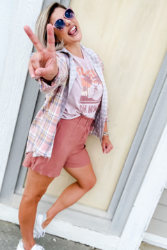 Papermoon Selfie Sesh Pink Patchwork Flannel Shacket - Product List Image