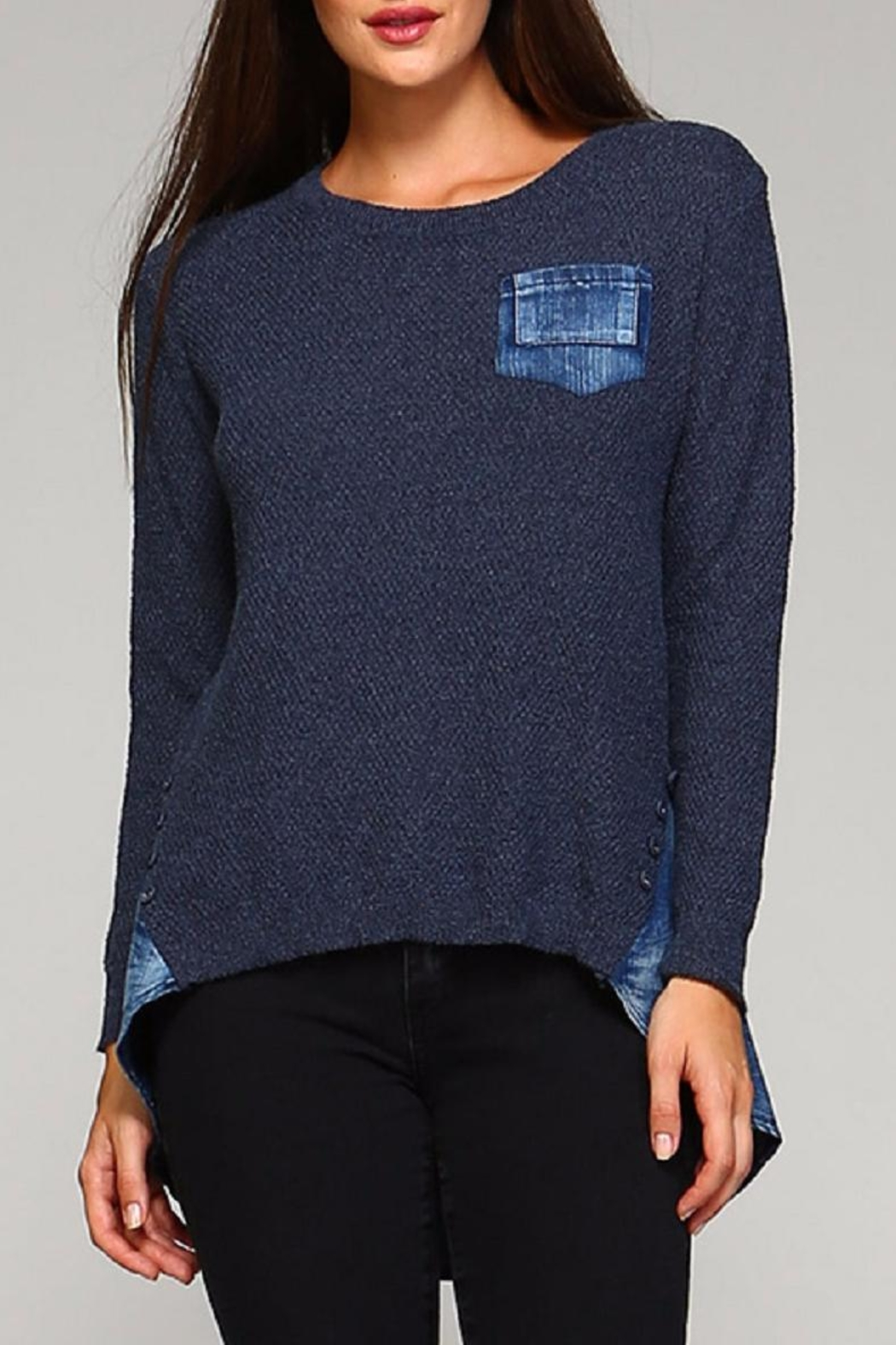 Selfie Couture Denim Blue Sweater - Main Image