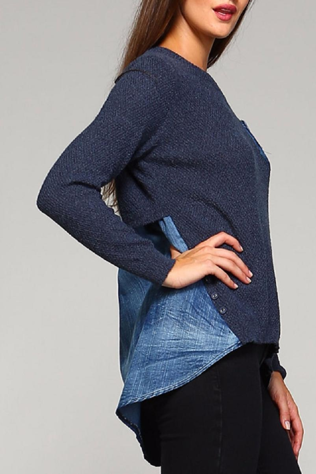 Selfie Couture Denim Blue Sweater - Front Full Image