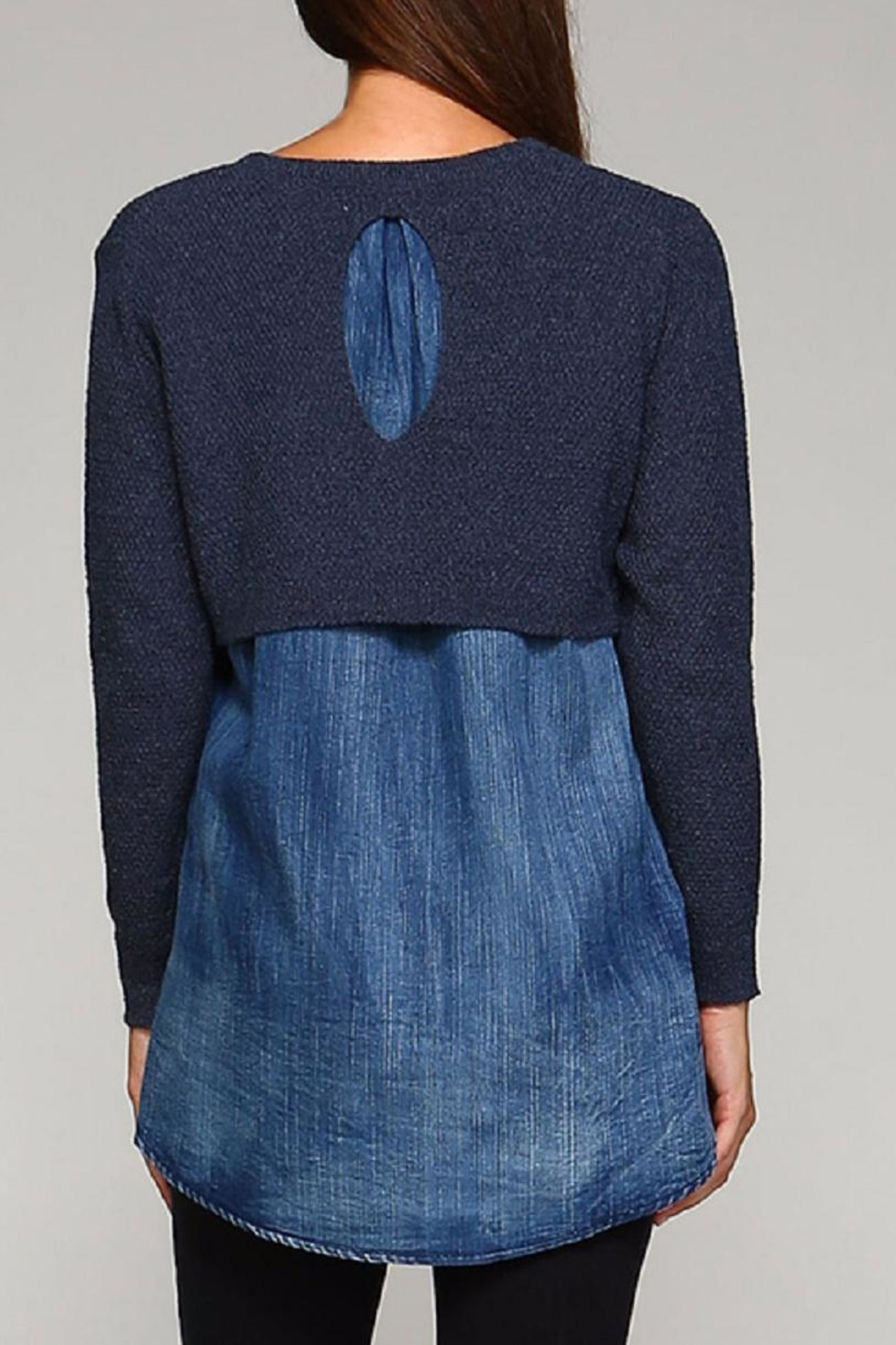 Selfie Couture Denim Blue Sweater - Side Cropped Image