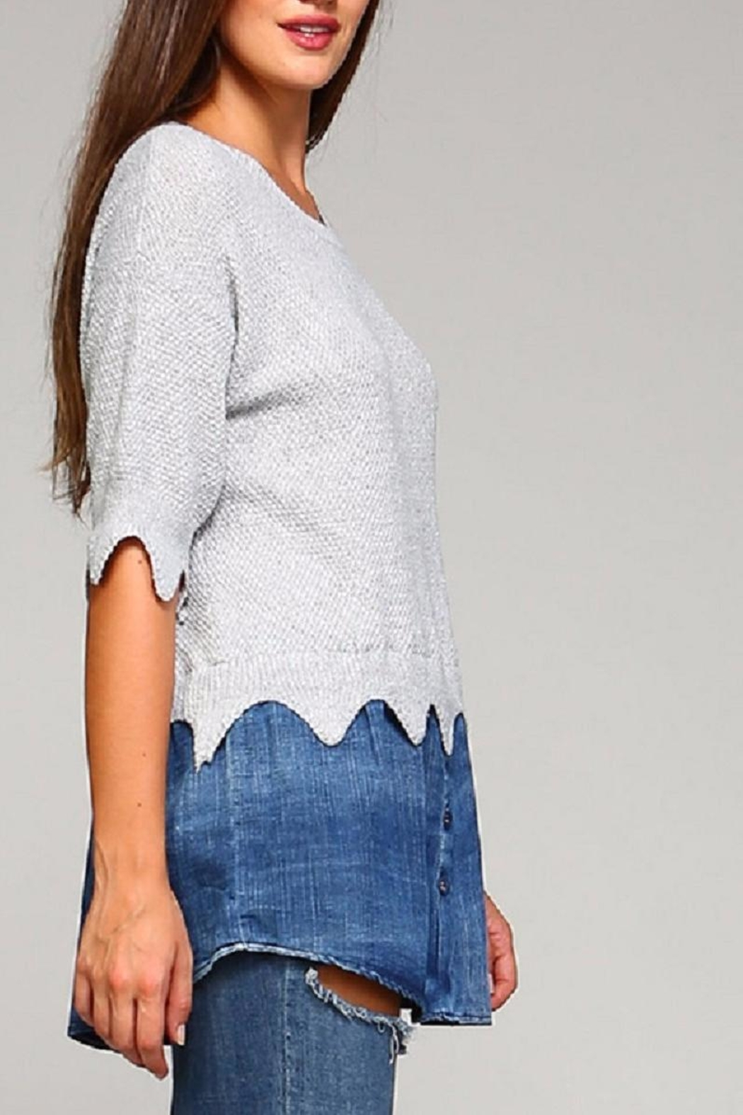 Selfie Couture Denim Sweater Combo - Front Full Image