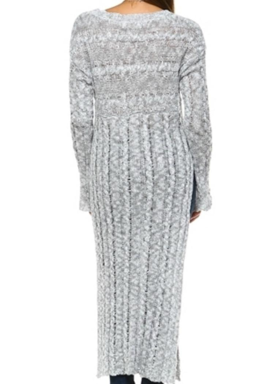 Selfie Couture Floor-Length Cable Sweater - Side Cropped Image