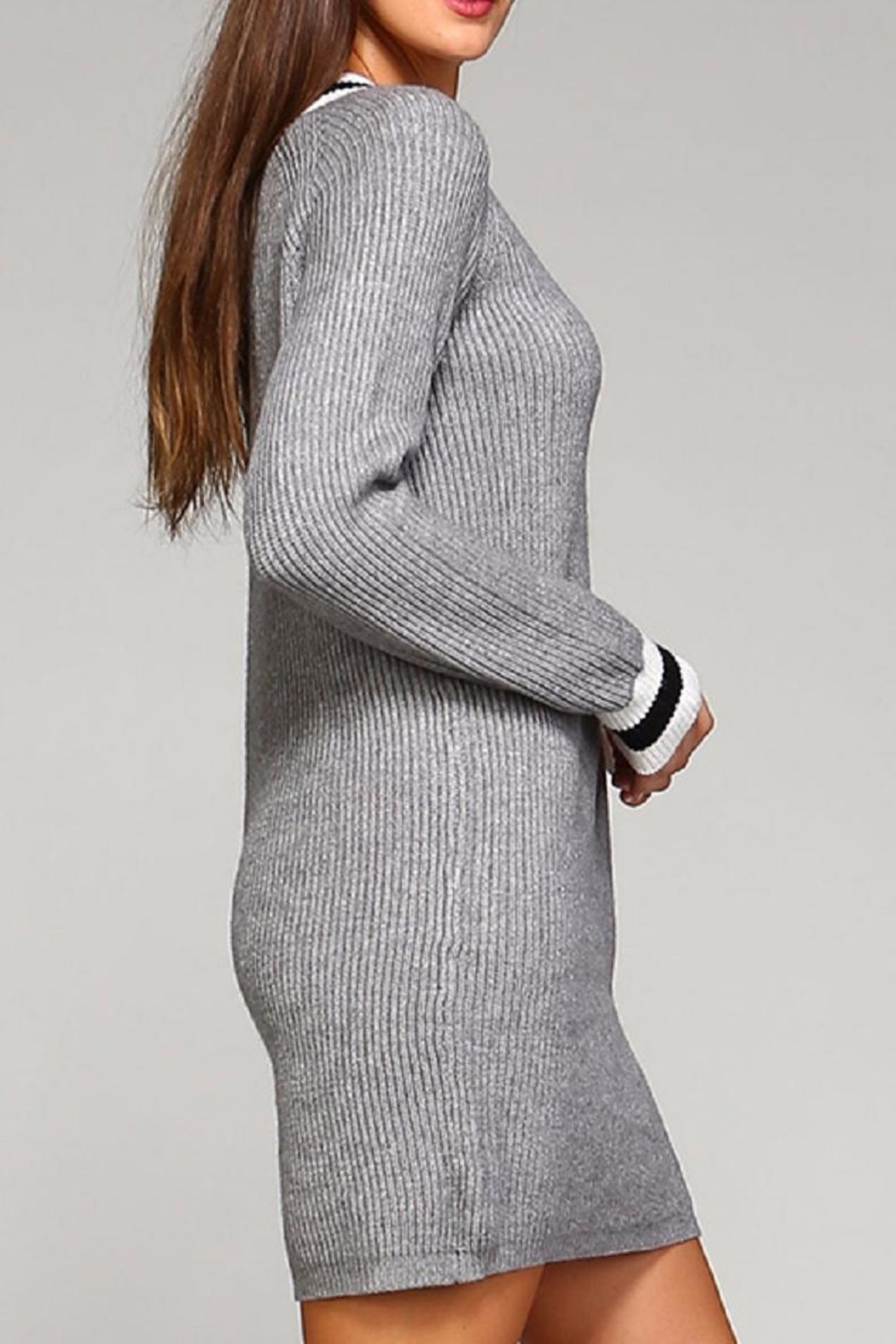 Selfie Couture Grey Varsity Sweater Dress - Side Cropped Image
