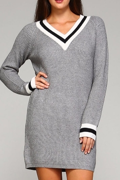 Selfie Couture Grey Varsity Sweater Dress - Product List Image