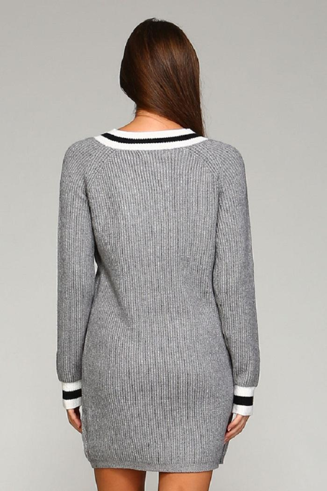 Selfie Couture Grey Varsity Sweater Dress - Front Full Image