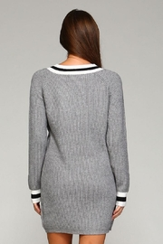 Selfie Couture Grey Varsity Sweater Dress - Front full body