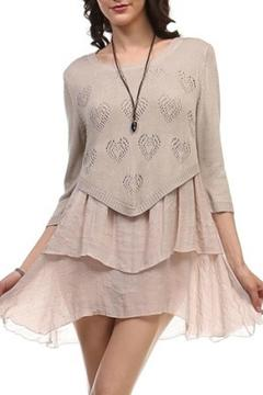 Selfie Couture Heart-Pattern Layered Knit - Product List Image
