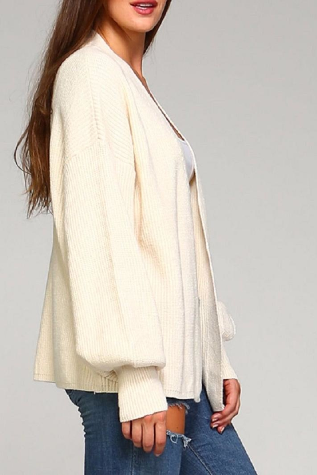 Selfie Couture Ivory Cardigan - Side Cropped Image