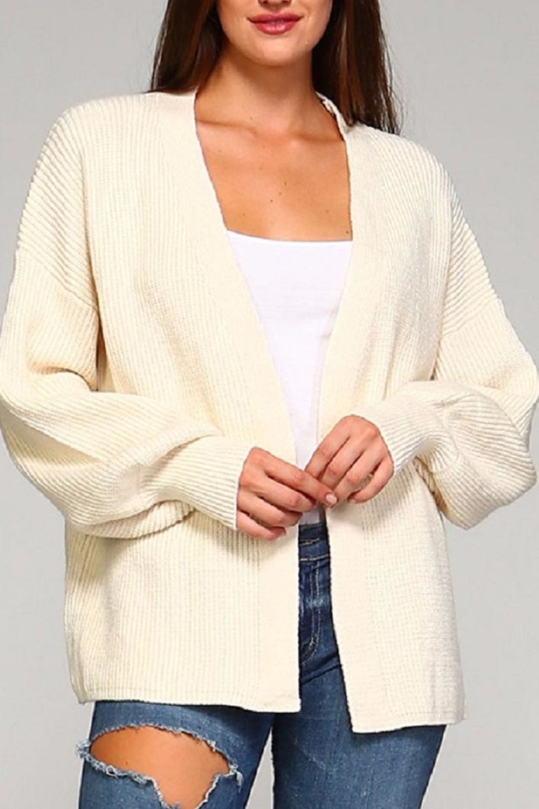 Selfie Couture Ivory Cardigan - Main Image