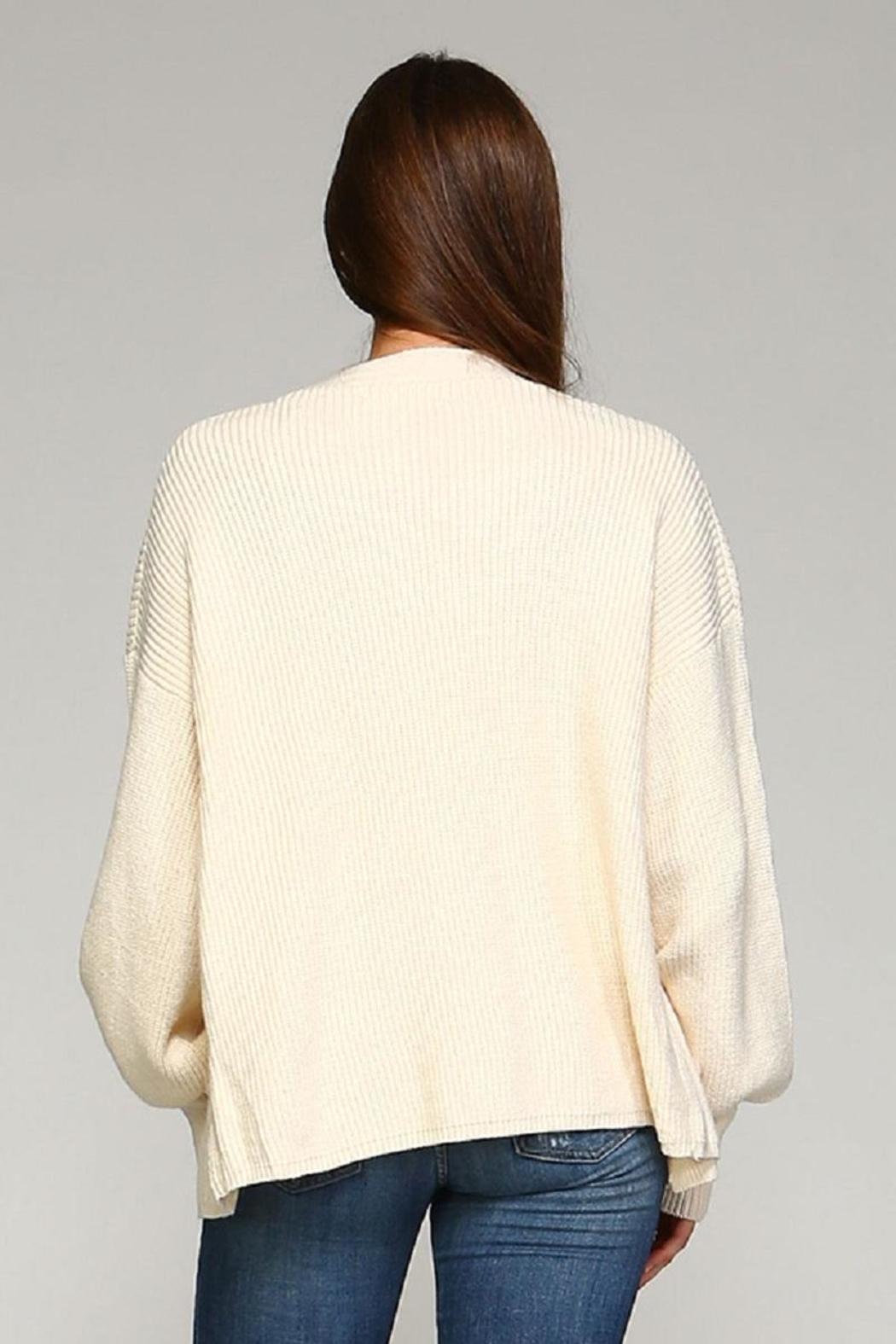 Selfie Couture Ivory Cardigan - Back Cropped Image