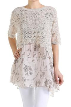 Selfie Couture Knit Layered Chiffon Top - Product List Image