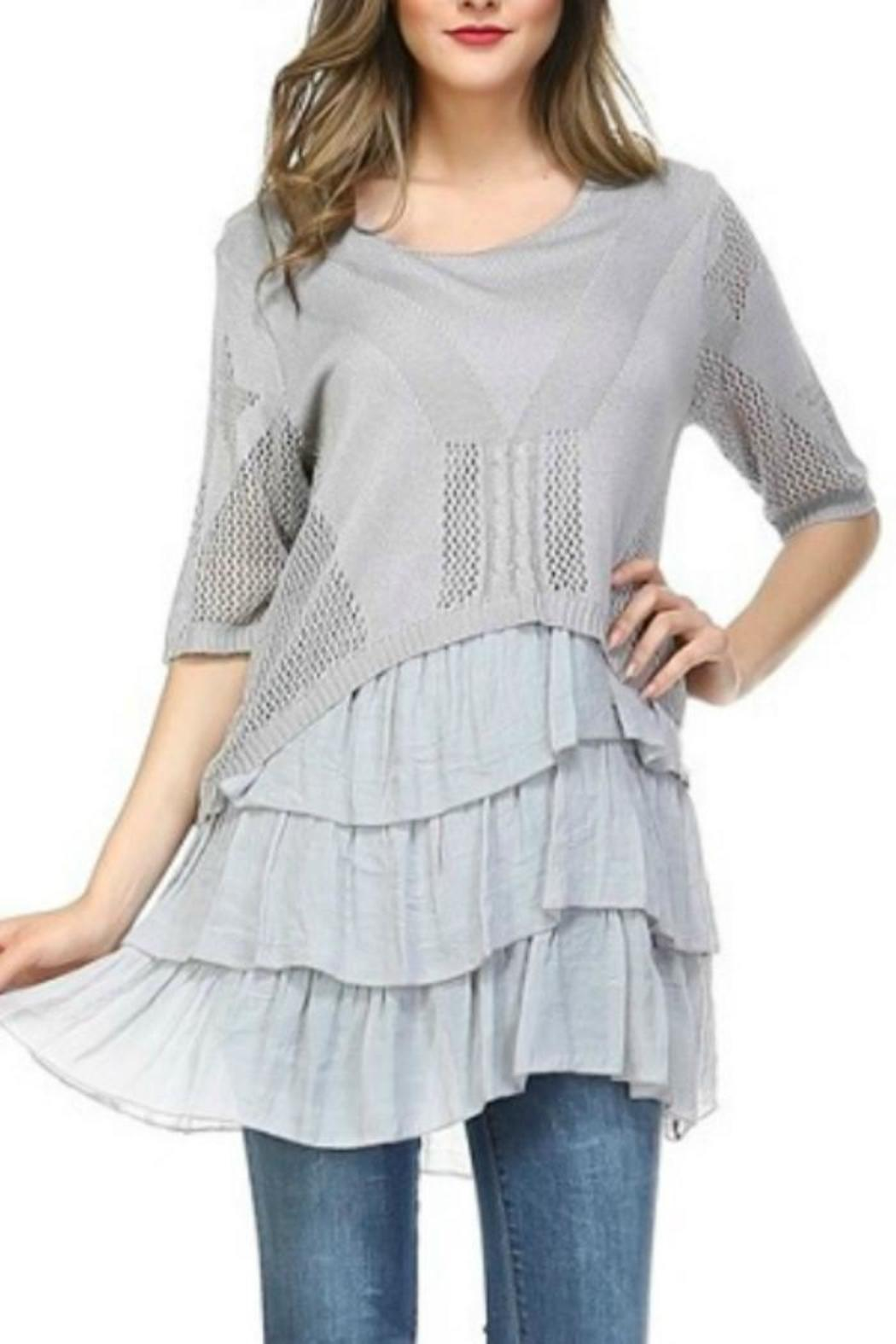 Selfie Couture Layered Knit Top Dress - Main Image