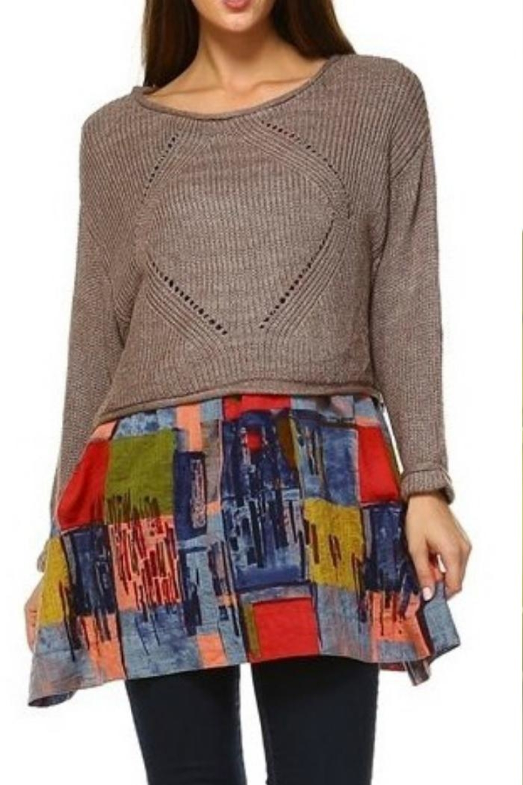 Selfie Couture Layered-Skirted Sweater - Main Image
