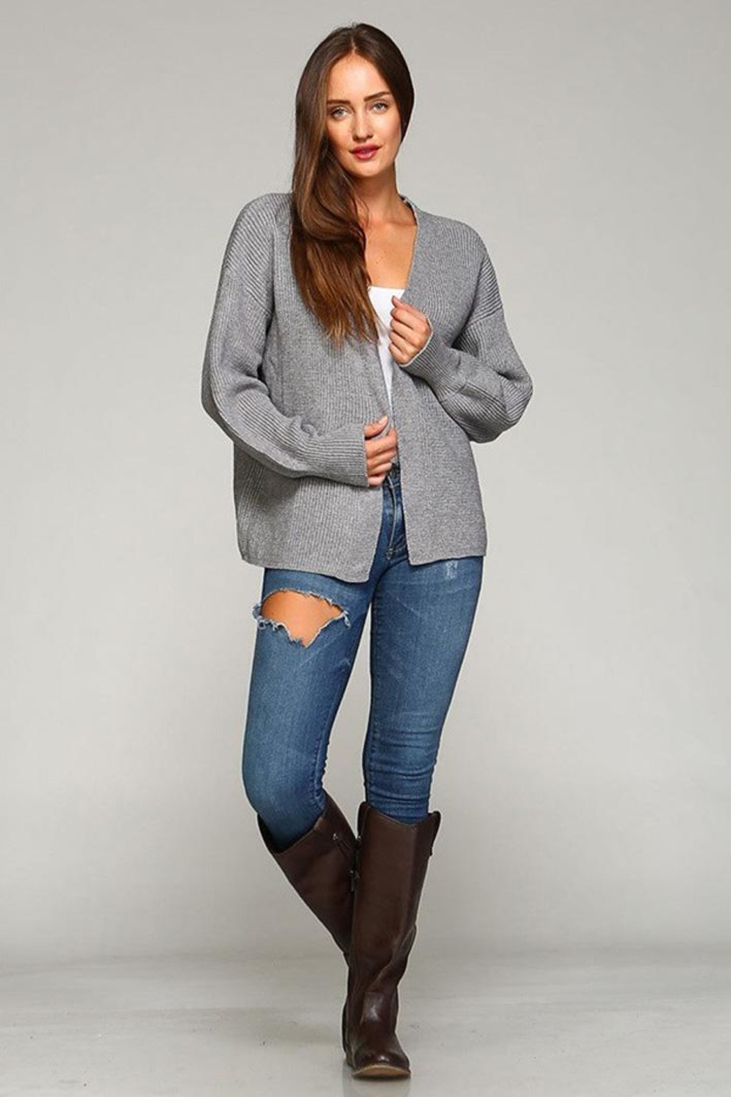 Selfie Couture Open Front Cardigan - Back Cropped Image
