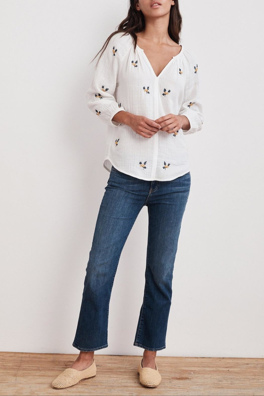 Velvet Selma Embroidered Top - Front Full Image