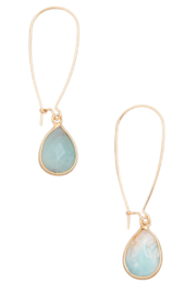 Fame Accessories Semi Precious Stone Teardrop Hoop Earrings - Product Mini Image