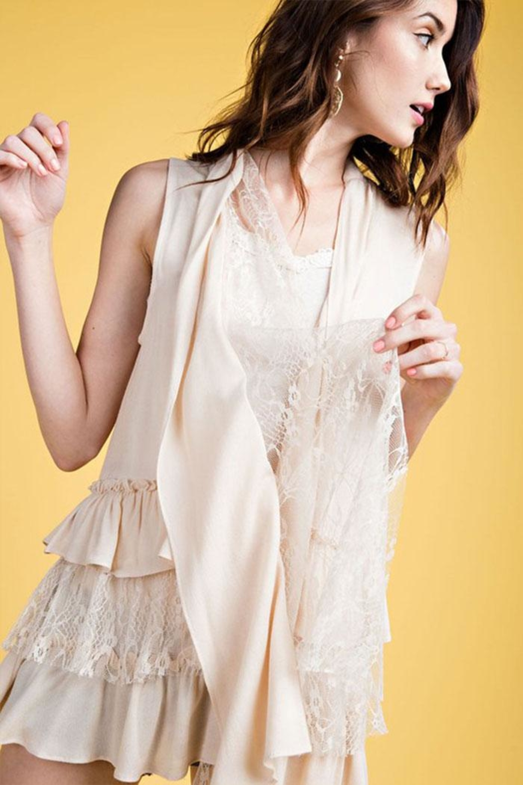 easel Semi Sheer Cardigan - Side Cropped Image