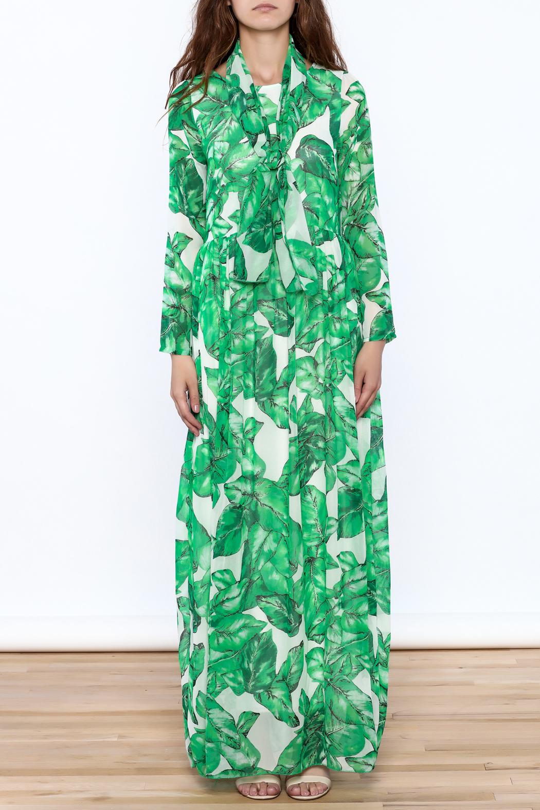 sent with love Banana Leaf Print Dress - Front Cropped Image