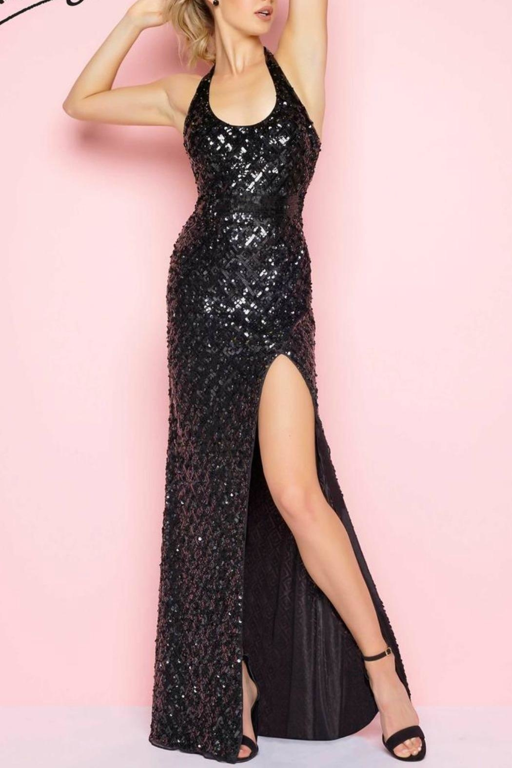 Mac Duggal Sequence Halter Gown - Main Image