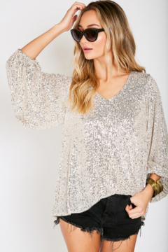 Vine & Love Sequin Balloon Sleeve Blouse - Product List Image