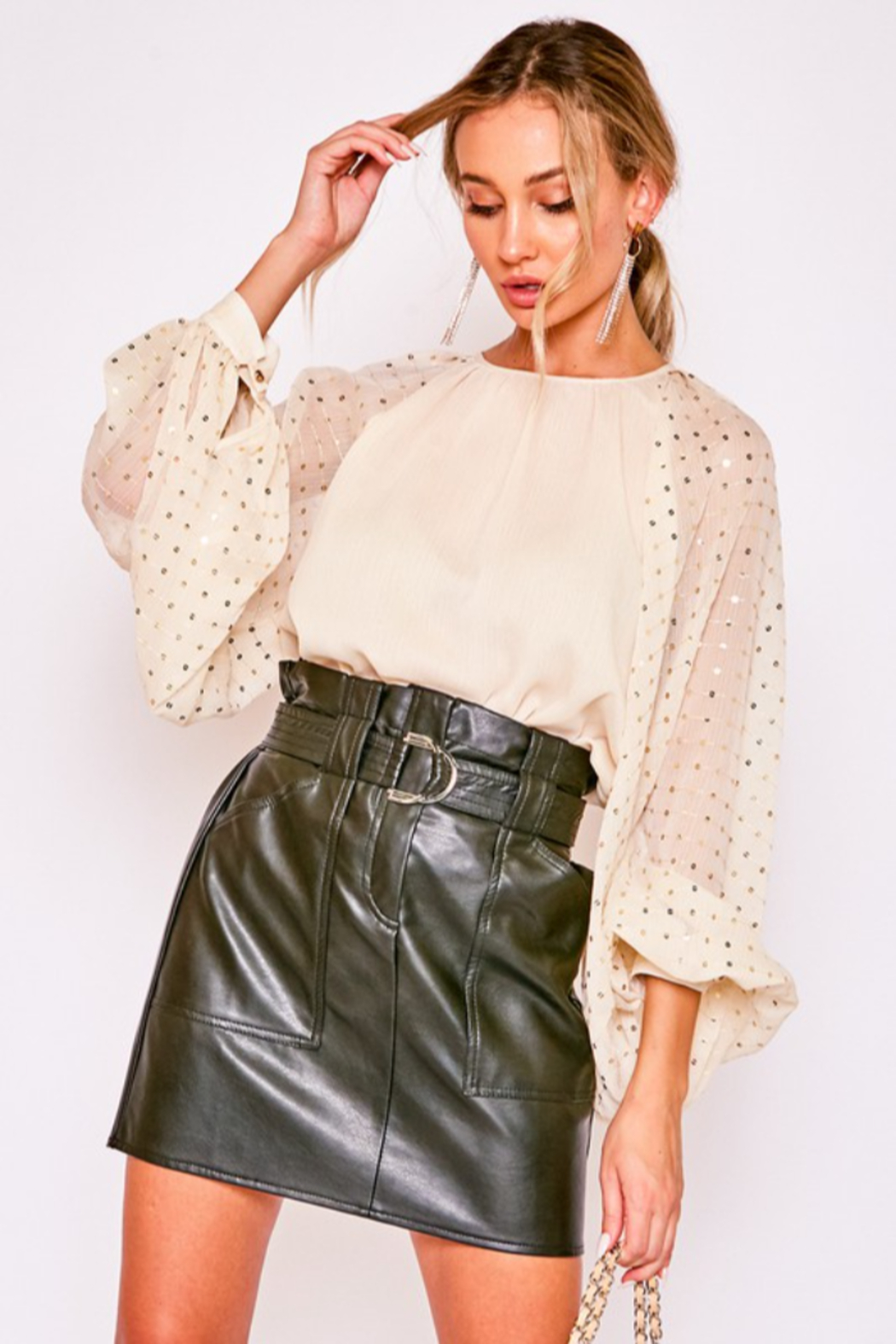 Vine & Love Sequin Balloon Sleeve Blouse - Front Cropped Image