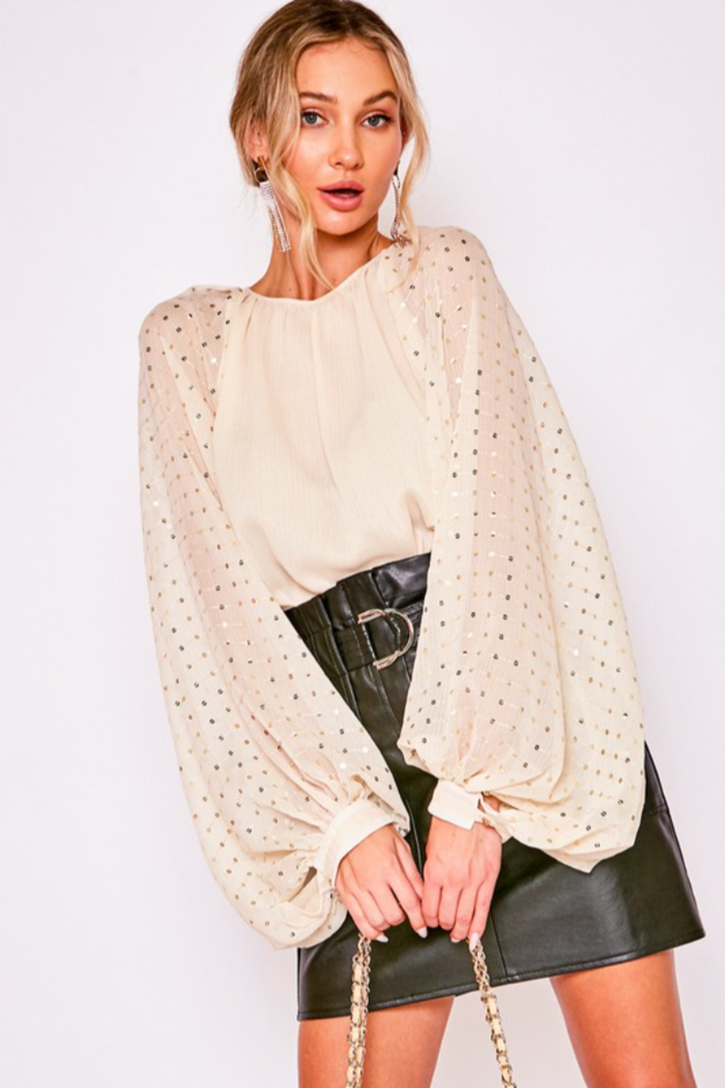 Vine & Love Sequin Balloon Sleeve Blouse - Front Full Image