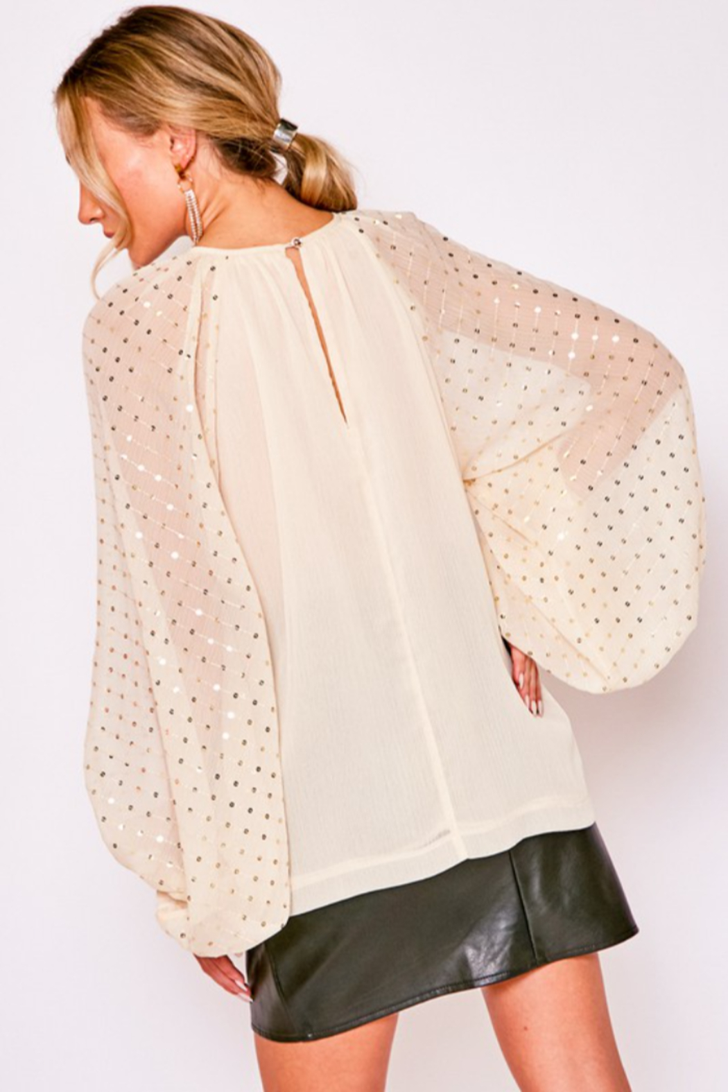 Vine & Love Sequin Balloon Sleeve Blouse - Back Cropped Image
