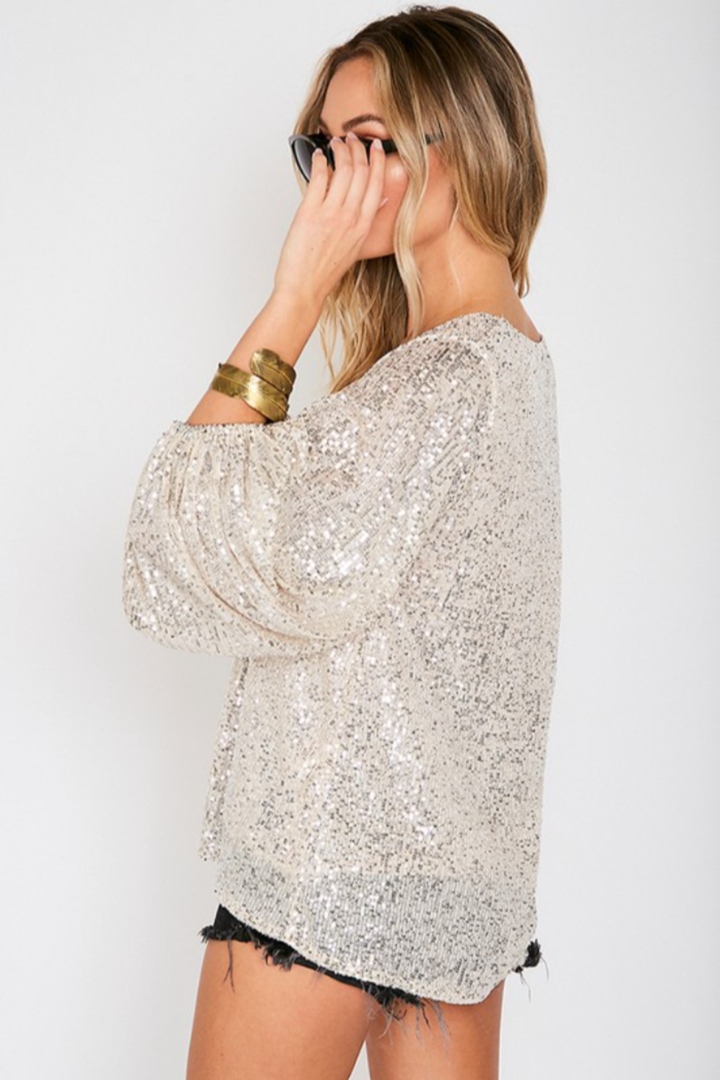 Vine & Love Sequin Balloon Sleeve Blouse - Side Cropped Image