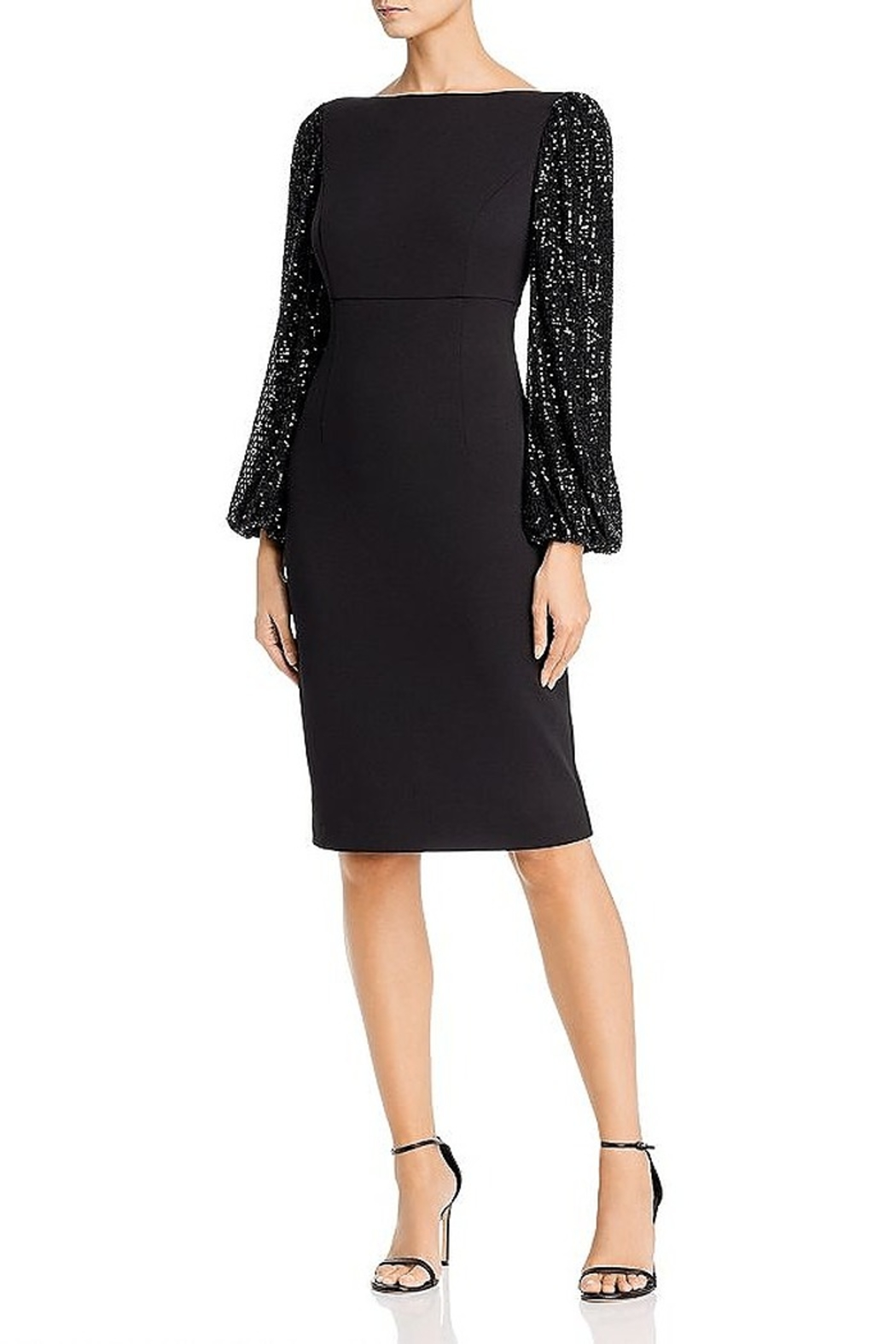 Eliza J Sequin Balloon Sleeve Sheath Dress - Front Cropped Image