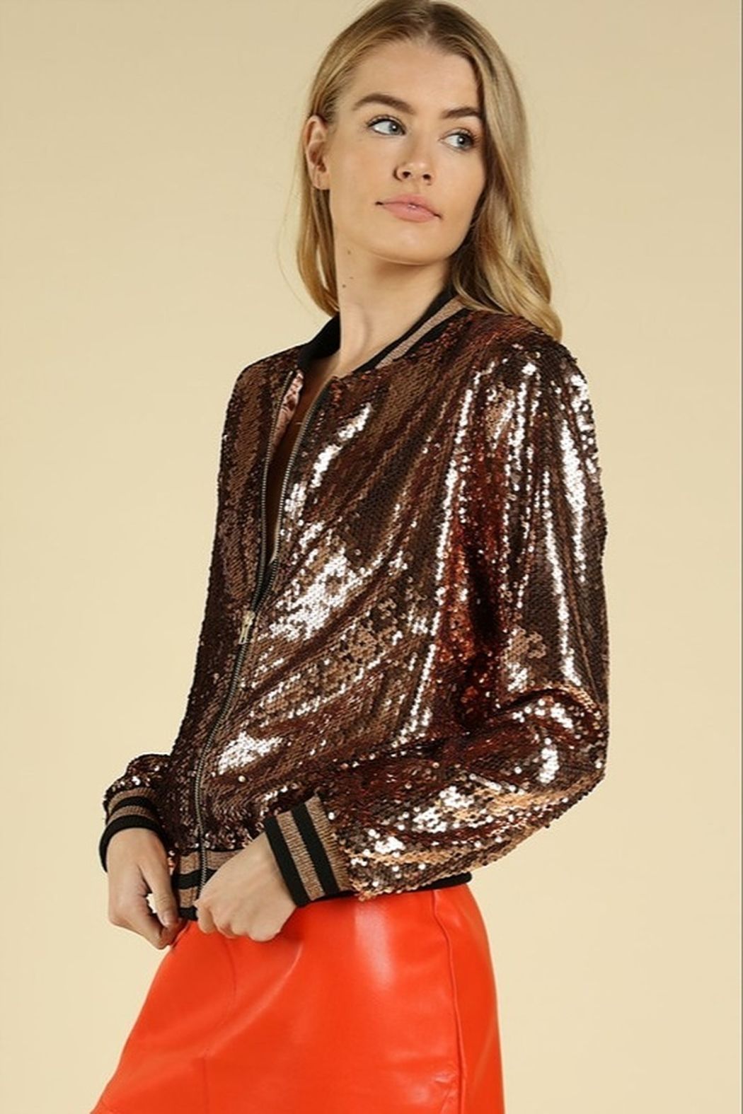 Honey Punch Sequin Bomber Jacket - Front Full Image