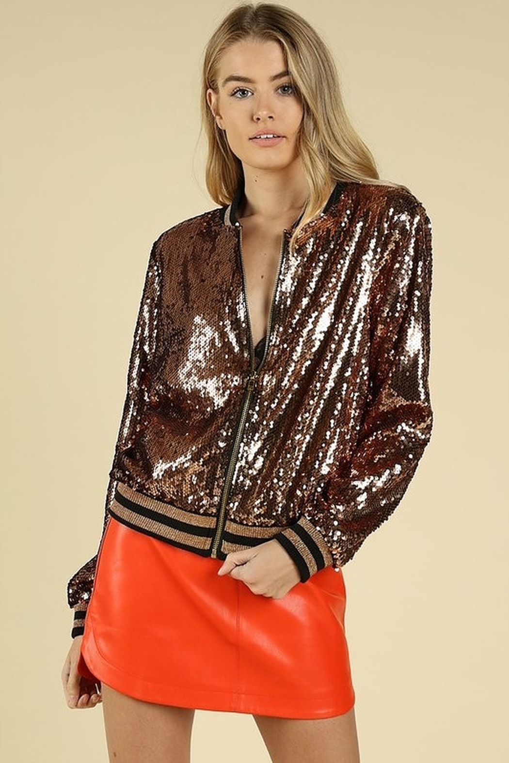 Honey Punch Sequin Bomber Jacket - Front Cropped Image