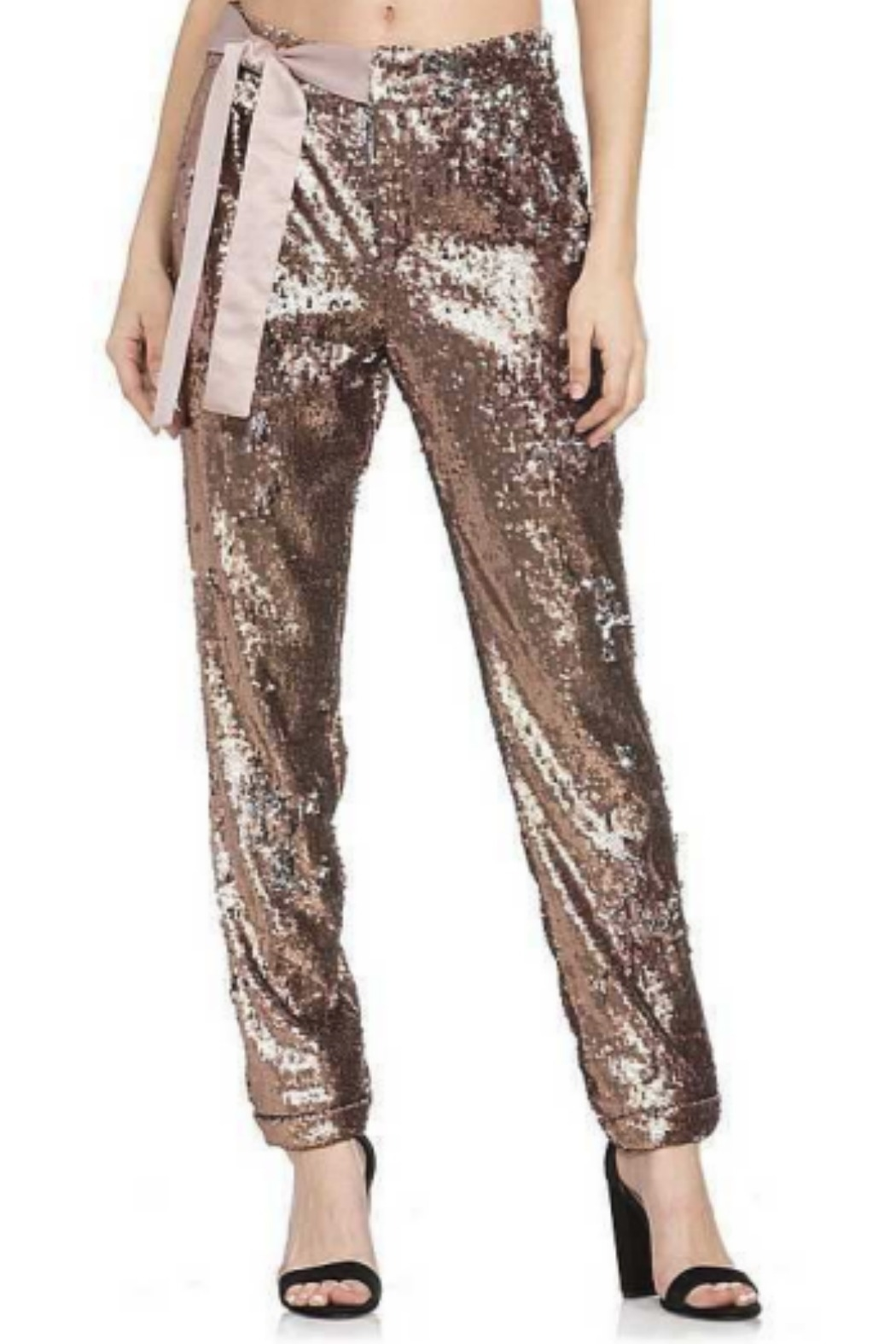Dance and Marvel Sequin Bow Waist Pant - Front Cropped Image